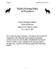 Xaxli'p Housing Policy